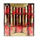 10 x Deluxe Christmas Crackers mixture of Gold and Red with