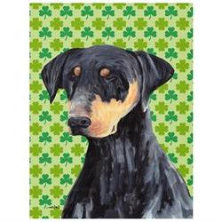 Doberman St. Patrick's Day Shamrock Portrait Flag Canvas Hou