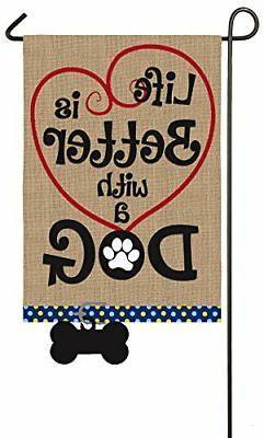 Evergreen Dog Life Burlap Garden Flag, 12.5 x 18 inches