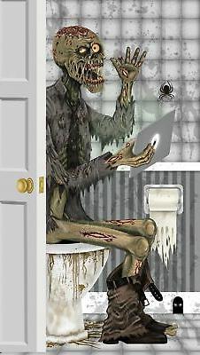 Door Cover- Restroom Zombie Plastic Wall Mural Halloween Dec