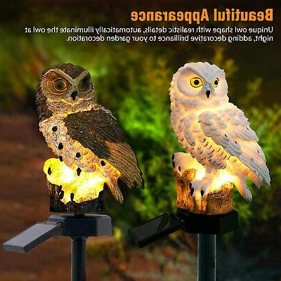 Outdoor Power Lights Owl Decor Lawn Yard Light