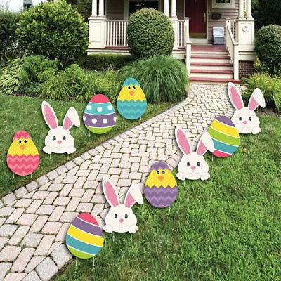 Easter Bunny & Egg Yard Decorations Easter Lawn Decorations - 10 Pc