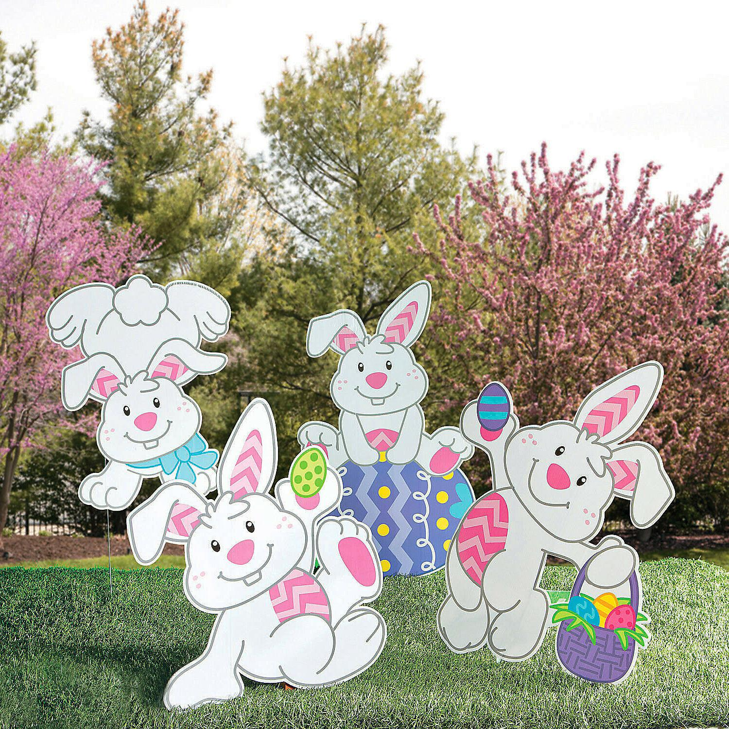 Easter Bunny Yard Decoration - Signs w/ Stakes Banner Outdoo