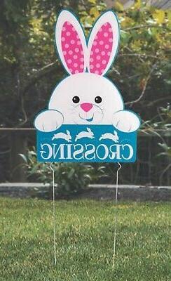Easter Egg Hunt Bunny Crossing Yard Sign Stake Garden Statue