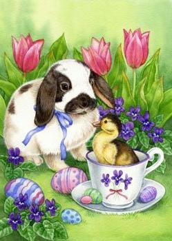 "Easter Friends - 28"" x 40"" Toland Art Banner"
