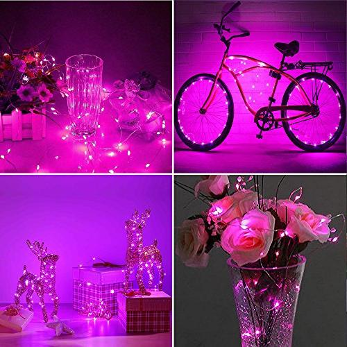ER String Lights 99ft LED Waterproof Pink Fairy Lights Remote, Decorative Lights Bedroom, Patio, Yard, Party