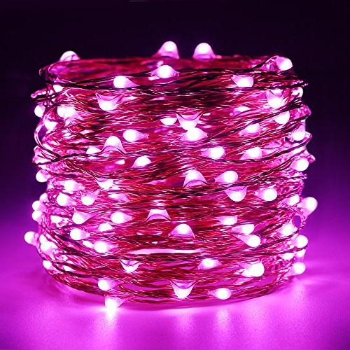 String Lights 99ft 300 LED Pink Remote, Copper Decorative for Patio, Garden,