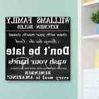 Family Kitchen Rules Personalized Canvas Wall Art Sign House