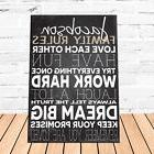 Family Love Rules Personalized Canvas Wall Art Sign House Wa