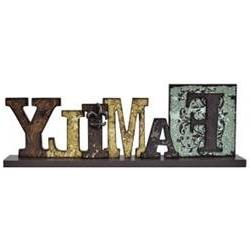 Family Table Sign Distressed Cut-Out Typeset Letters Fleur D
