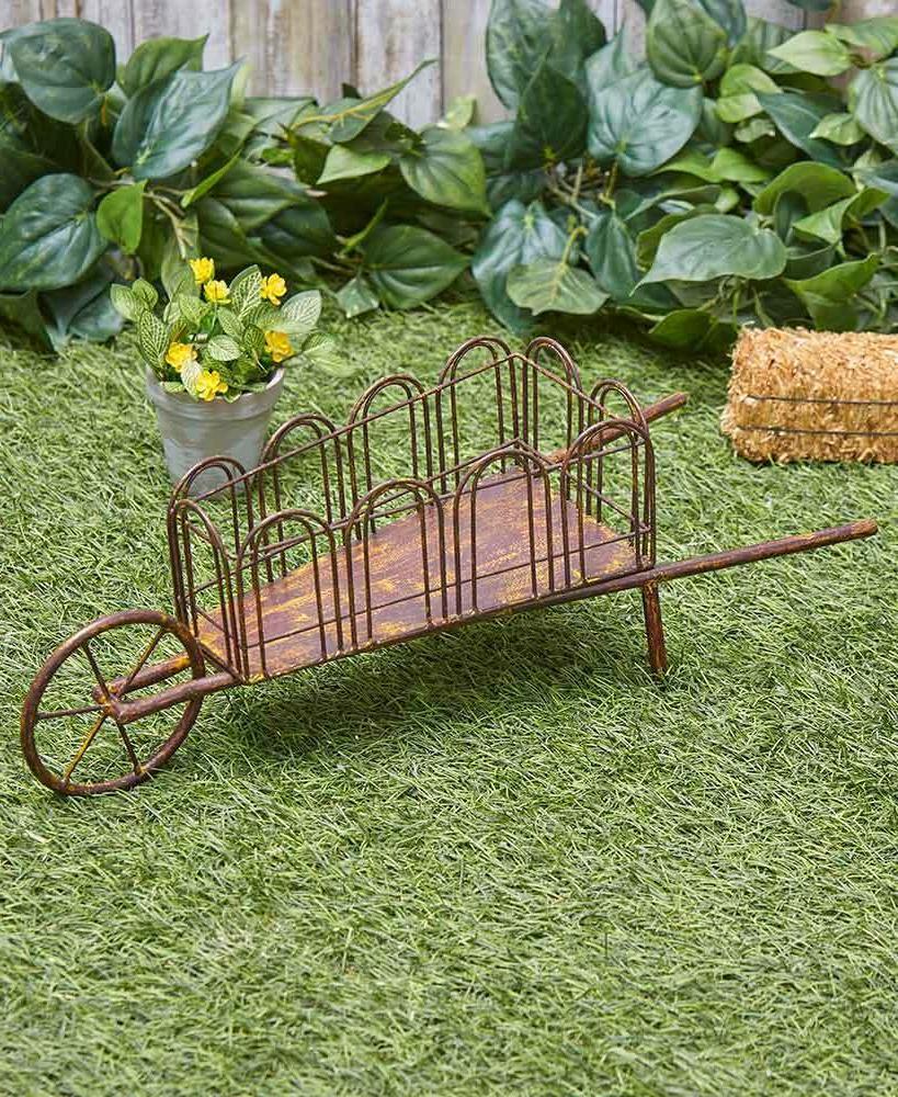 Farmhouse Rustic Metal Wheelbarrow Outdoor Yard Art Lawn Gar