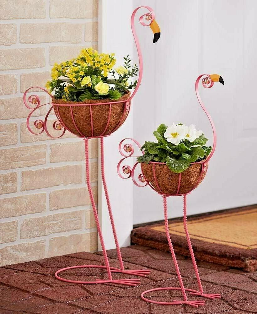 Flamingo Bird Planters Yard Statue Lawn Art Garden Porch Pat