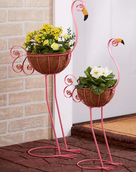 Flamingo Yard Decorations Metal Pot Planter Outdoor Garden L