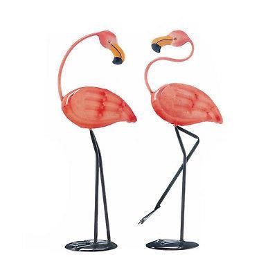 FLAMINGOS: Cheery Small Flamingo Iron Statue Yard Decor Set