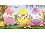 Floral Easter Egg Garden Stakes - Set of 3