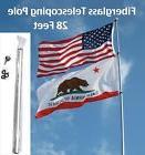 28' FT FLAG POLE telescoping fiberglass antenna nascar rv ca
