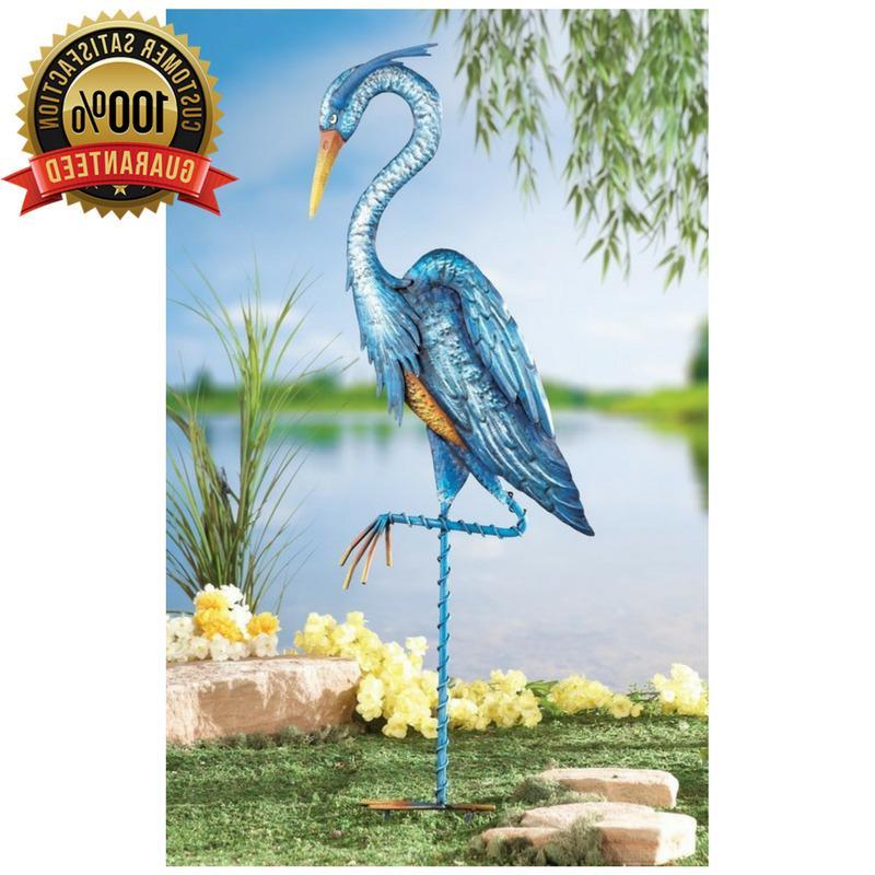 garden decor blue metal heron crane iron