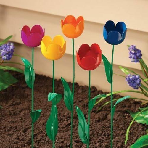 Tulip Garden Stake Set of 5 Metal Flower Yard Art Outdoor Pl