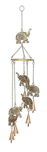 Benzara Garden Wind Chimes, Metal Elephant, 28 by 5-Inch