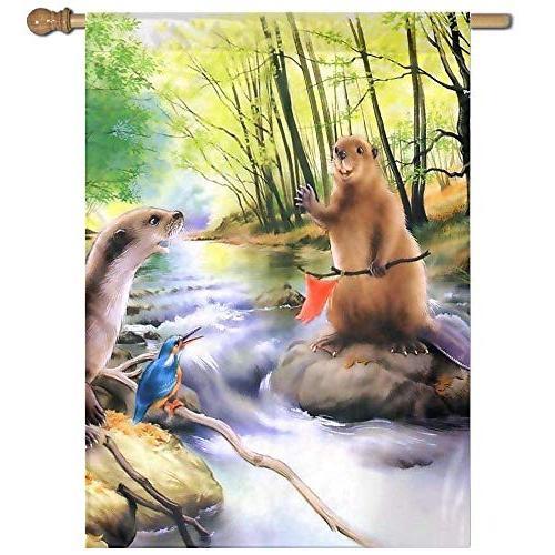 garden yard flag beaver scenery