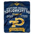 Georgia Tech GT Plush Fleece Blanket Throw 50 x 60