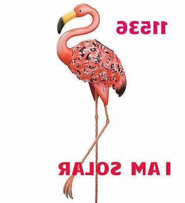 gift solar bird stake flamingo 39