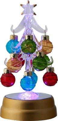 Glowing Multicolor Glass Ornament Tree - Light Up Christmas