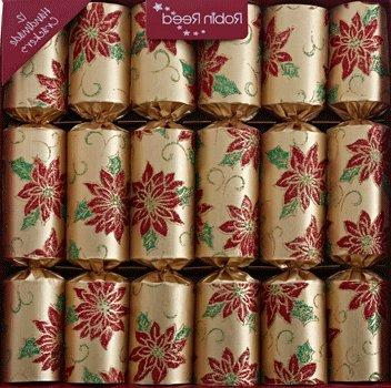 gold poinsettia flower christmas crackers