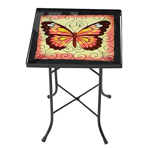 golden butterfly patio accent table