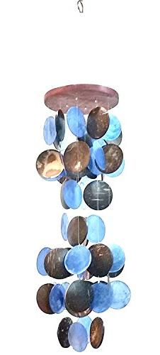 "Amazing Grace Beautiful Wind Chime 19""h, 5""w Blue Capiz and"