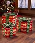 Set of 3 Green Red Gift Boxes Presents Lighted Christmas Dec