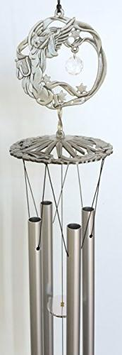 Guardian Angel Pewter Like Garden Wind Chime Mobile Decor wi