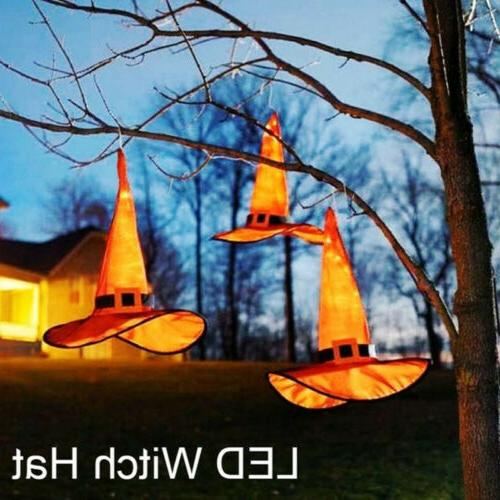 halloween decoration outdoor hanging lighted glowing witch