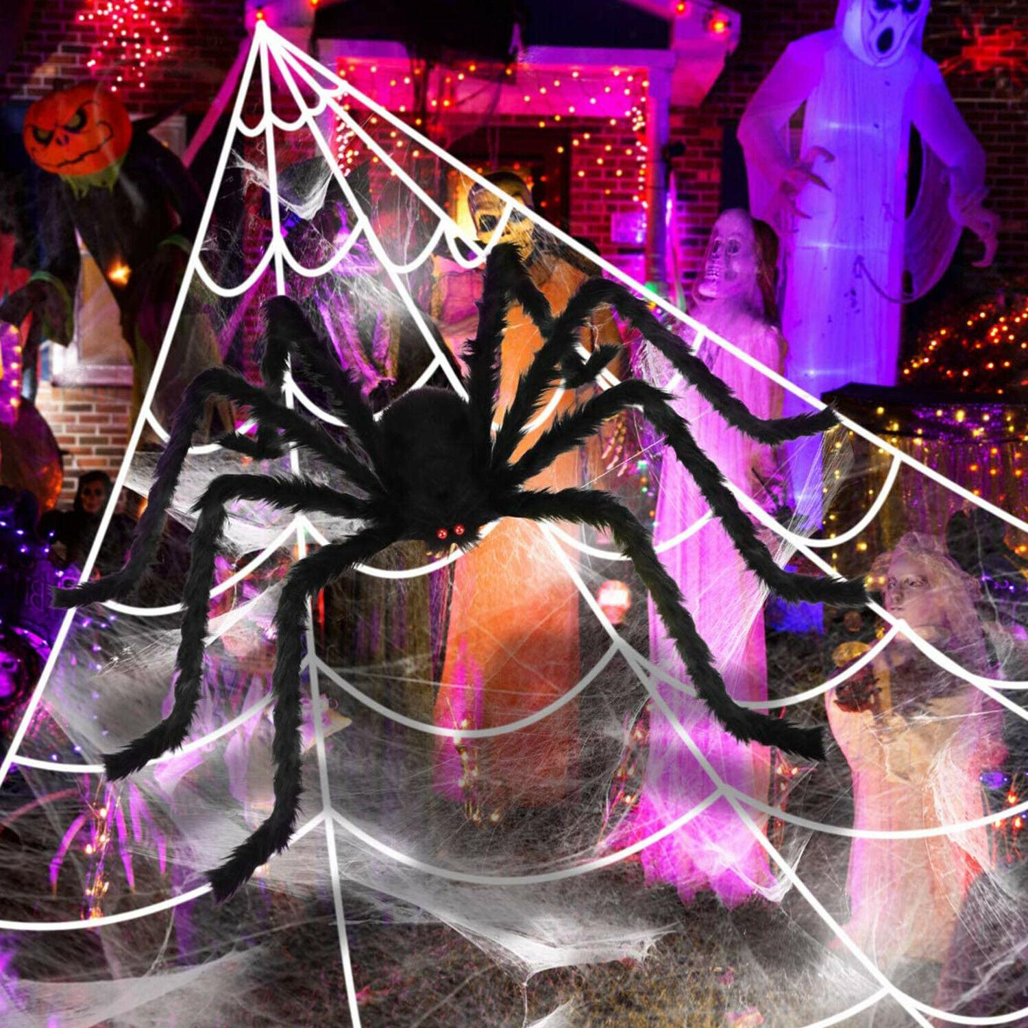 Halloween Yard 23*18 ft Giant Web Set / 29.5in Large Spider