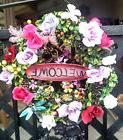Handmade Spring Summer Boxwood WELCOME Wreath Pink Purple Ro