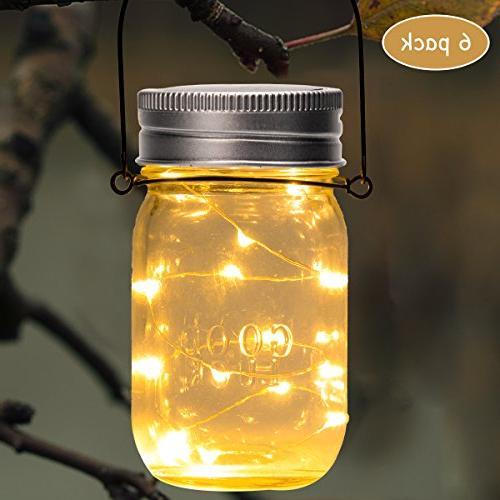 GIGALUMI Solar Jar Lights, 6 Pack 15 Fairy Solar Table Lights, Hangers and Outdoor Décor Patio Yard Lawn.