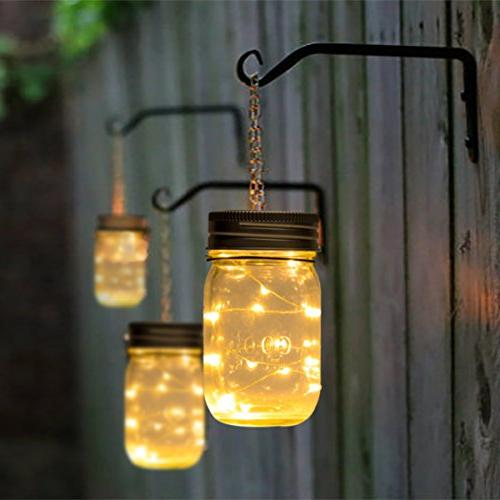 GIGALUMI Mason Pack String Fairy Lights Solar Table 6 Hangers and Included. Outdoor Lawn Décor Patio Garden, Yard Lawn.