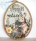 Happy Easter Bunny Rabbit Spring Floral Egg Wall Victorian D