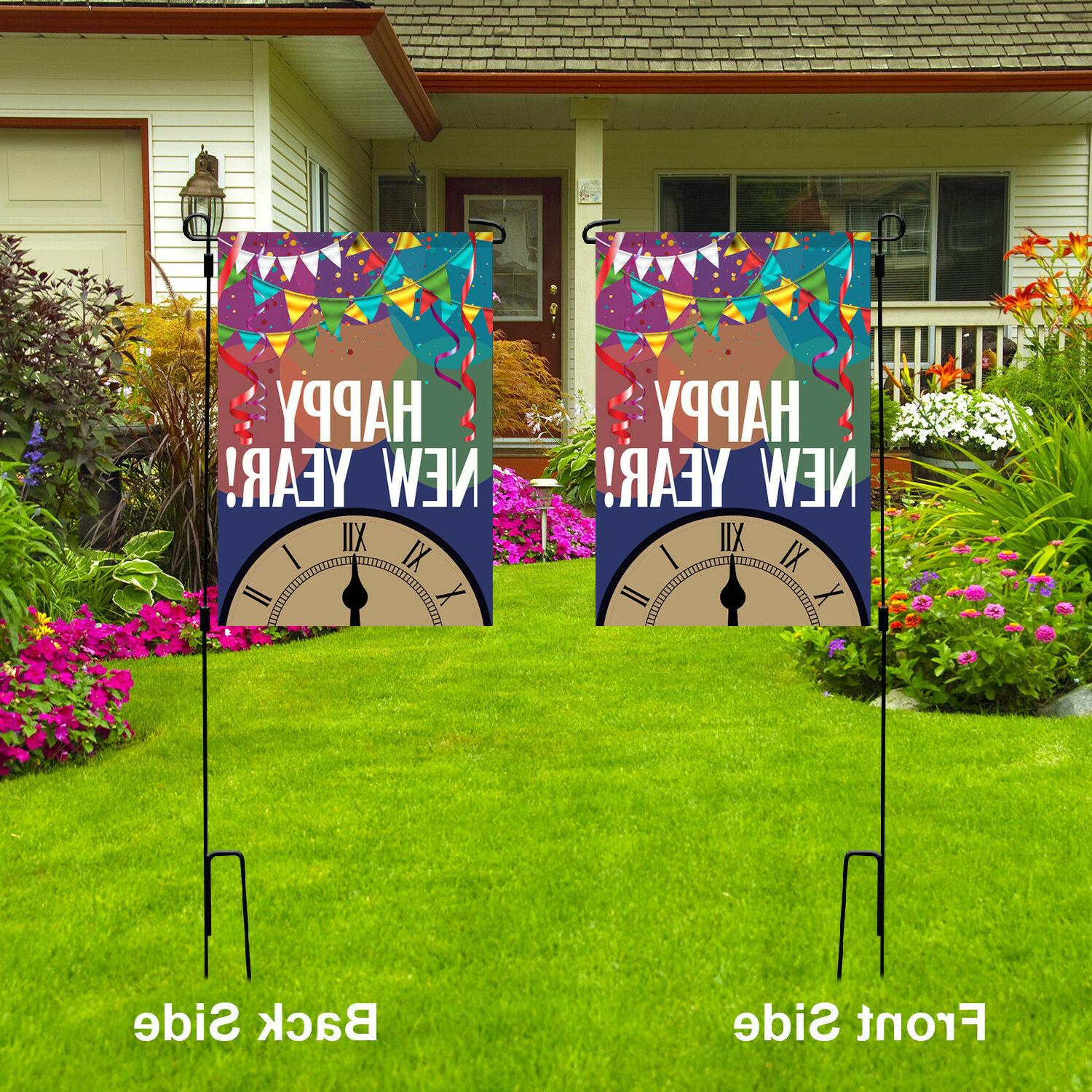 happy new year garden flag outdoor party