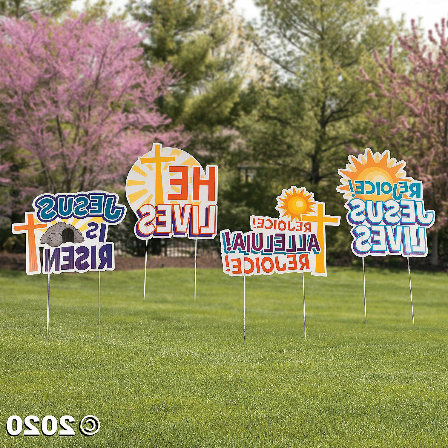 He is Risen & He Lives Religious Easter Yard Stakes Signs fo