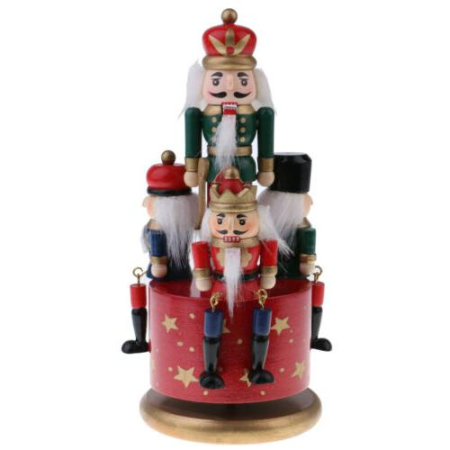 Home Yard Christmas Decor Wooden Nutcracker 4 Soldier Music
