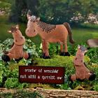 Horse Welcome Sign Garden Planter Stake Yard Decor Metal Set
