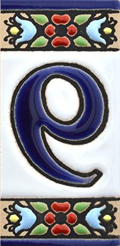House numbers. Handpainted polichrome ceramic tiles. letters