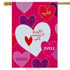 "Hugs & Kisses Valentine's Day House Flag Hearts Love 28"" x 4"
