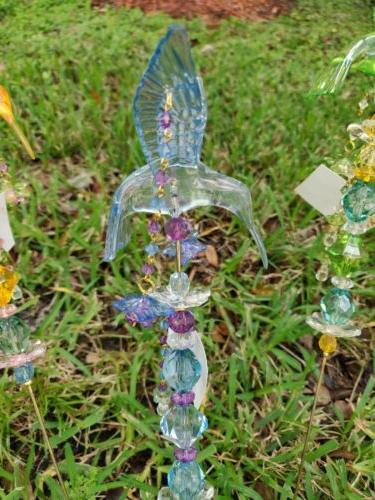 Hummingbird Yard Stake Set of Lawn Planter Garden