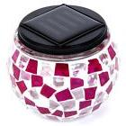 iGlow 1 Pack Outdoor Pink & White Solar Powered Mosaic Light
