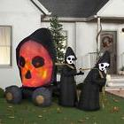 9 ft. Inflatable Lighted Fire and Ice Skull Coach Scene Hall