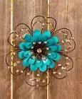 Jeweled Embellished Metal Flower Wall Art Sculpture Indoor/O