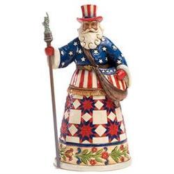 Jim Shore Heartwood Creek American Patriotic Santa Claus Chr