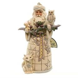 Jim Shore White Woodland Santa Resin Christmas Ornament, 4.7